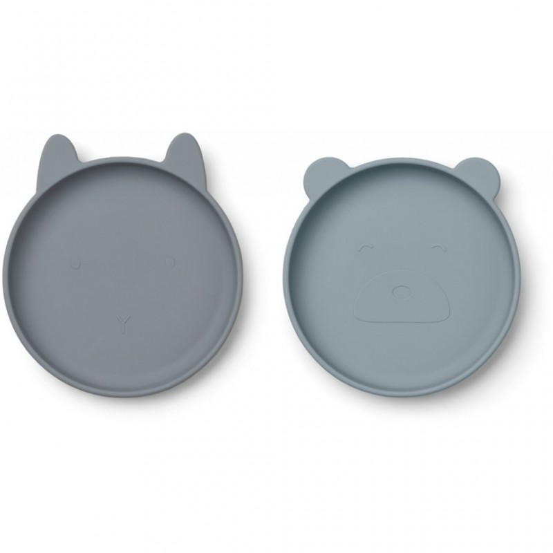 Set 2 farfurii din silicon Olivia Liewood - Blue Mix