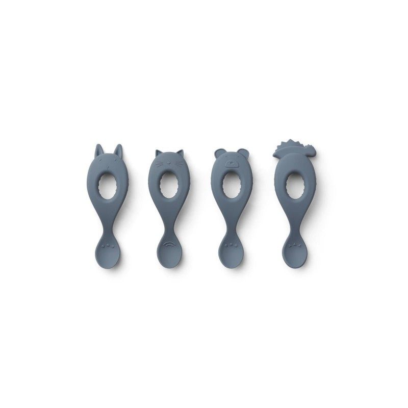 Set 4 lingurite din silicon Liva Liewood - Blue Wave
