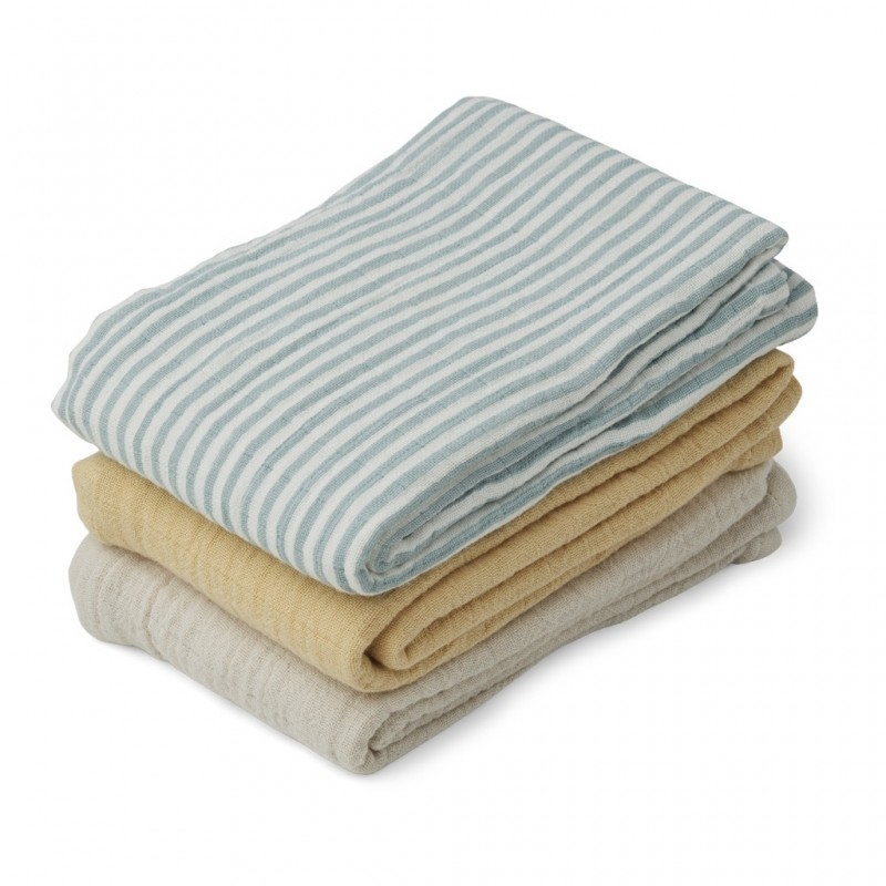 Set 3 museline Liewood - Sea Blue Stripe Mix