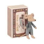 Jucarie textila Little Brother Mouse in Matchbox Maileg