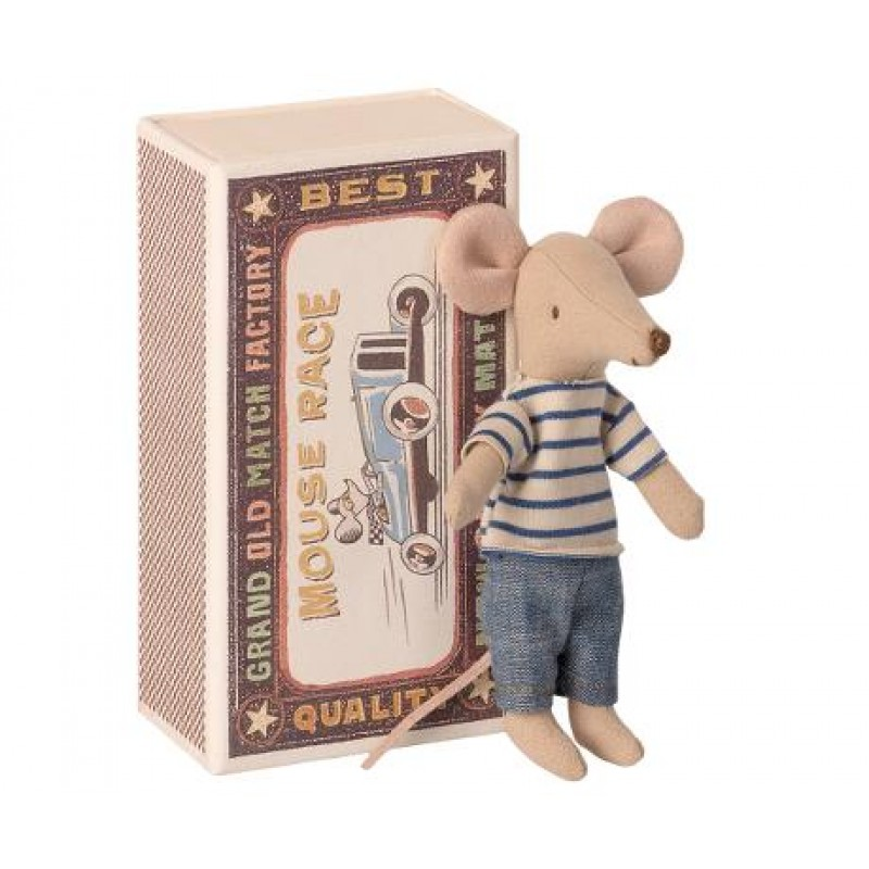 Jucarie textila Big Brother Mouse in Matchbox Maileg
