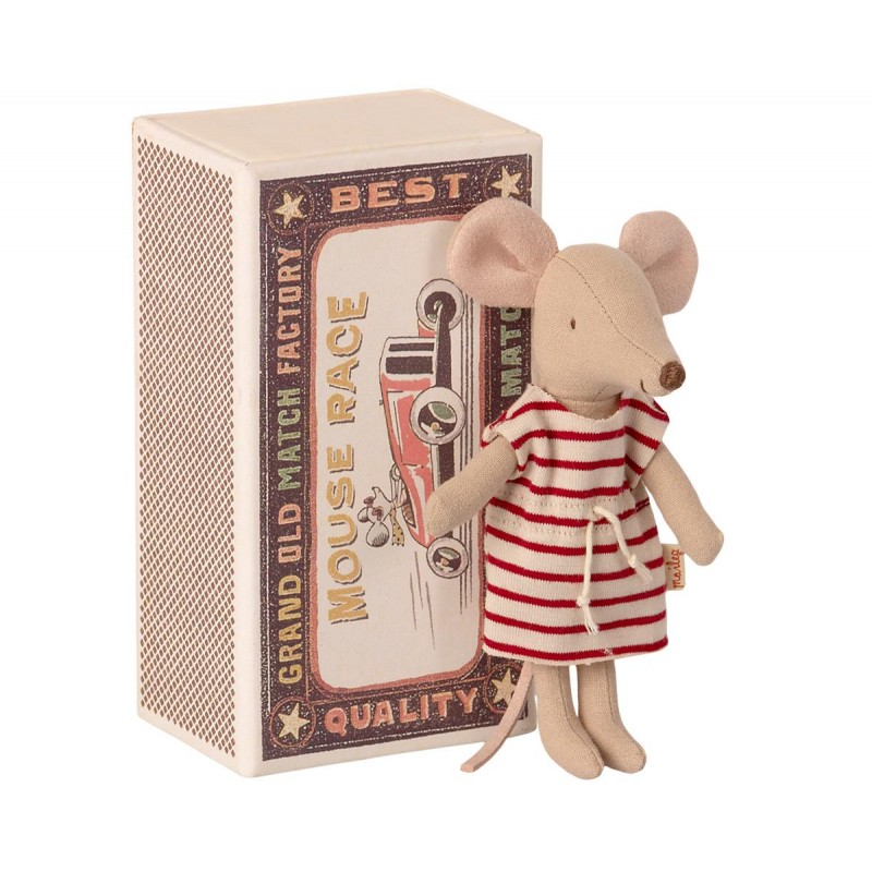 Jucarie textila Big Sister Mouse in Matchbox Maileg